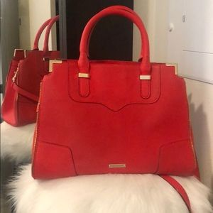 Bright red Rebecca Minkoff convertible handbag